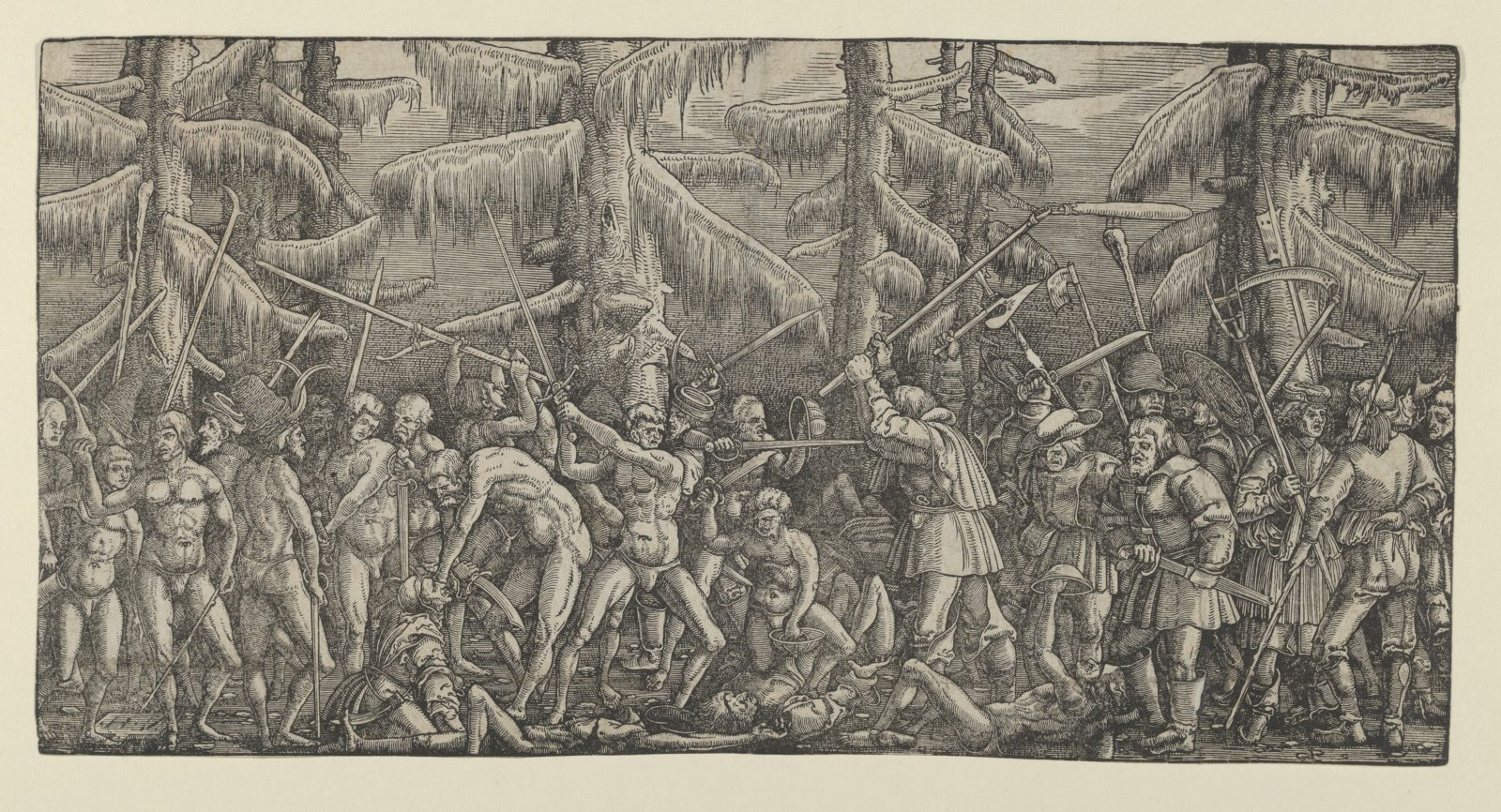 Battle Between Peasants and Naked Men in a Forest