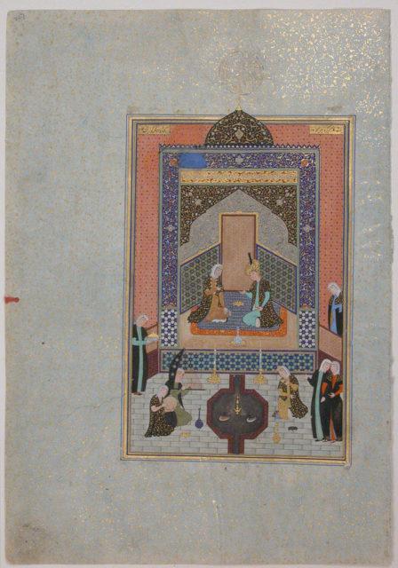"""Bahram Gur in the Dark Palace on Saturday"", Folio 207 from a Khamsa (Quintet) of Nizami"