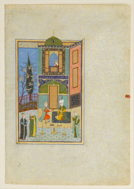"""""""Bahram Gur in the Green Palace on Monday"""", Folio from a Khamsa (Quintet) of Nizami"""
