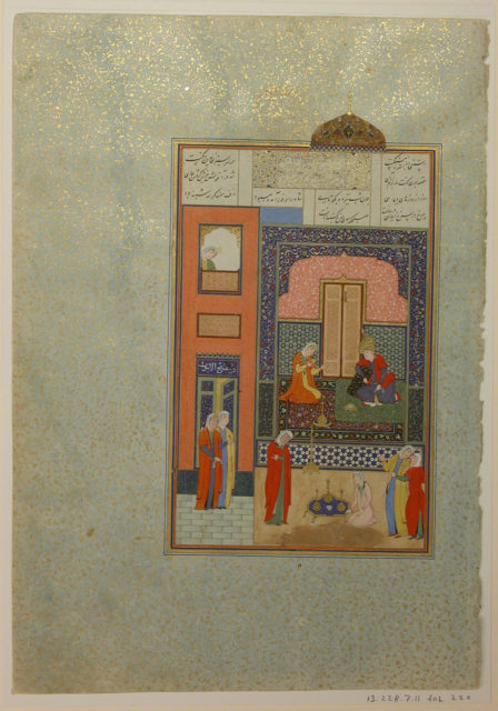 """Bahram Gur in the Red Palace on Tuesday"", Folio 220 from a Khamsa (Quintet) of Nizami"