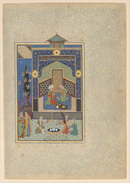 """Bahram Gur in the Turquoise Palace on Wednesday"", Folio 216 from a Khamsa (Quintet) of Nizami"