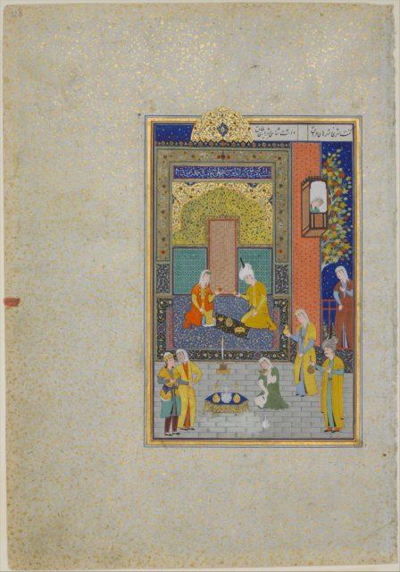 """Bahram Gur in the Yellow Palace on Sunday"", Folio 213 from a Khamsa (Quintet) of Nizami"