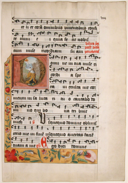 Initial D with King David, from a Cistercian Gradual