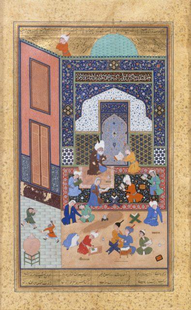 """Laila and Majnun in School"", Folio 129 from a Khamsa (Quintet) of Nizami"