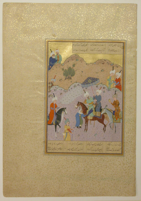 """""""Sultan Sanjar and the Old Woman"""", Folio 17 from a Khamsa (Quintet) of Nizami"""