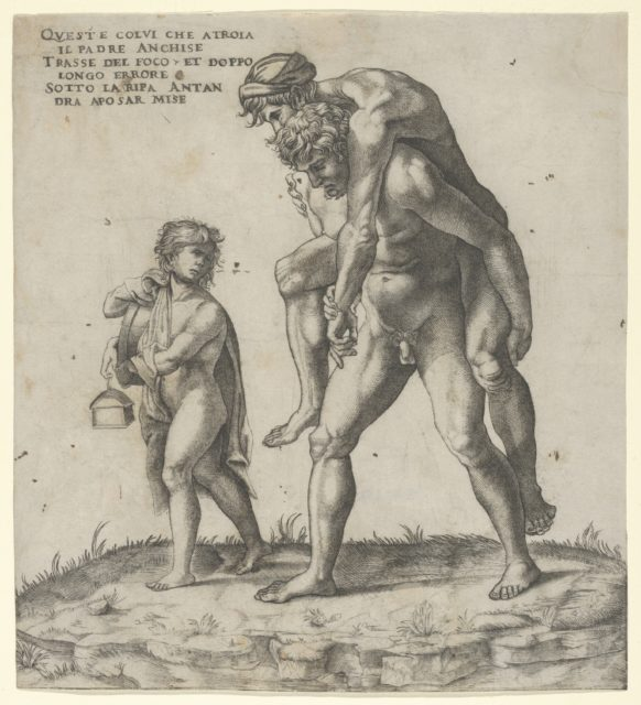 Aeneas rescuing Anchises, a young boy carrying a lantern at left
