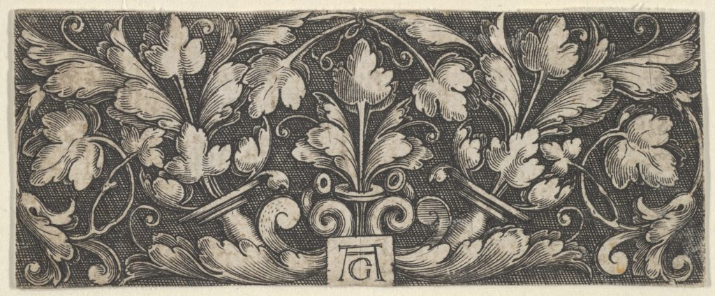 Horizontal Panel with Two Tendrils Sprouting Upwards from Horns at Center