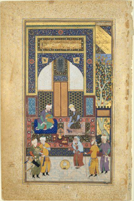 """""""Interior Reception"""", Folio 36r from a Bustan of Sa`di"""