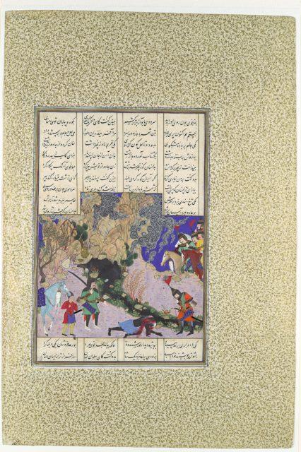 """Isfandiyar's Fourth Course: He Slays a Sorceress"", Folio 435v from the Shahnama (Book of Kings) of Shah Tahmasp"