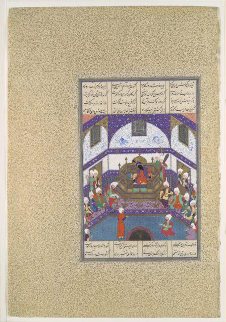 """""""Kai Kavus Upbraids Siyavush in a Letter"""", Folio 174r from the Shahnama (Book of Kings) of Shah Tahmasp"""