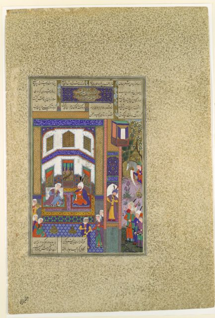 """""""Mihrab Vents His Anger Upon Sindukht"""", Folio 83v from the Shahnama (Book of Kings) of Shah Tahmasp"""