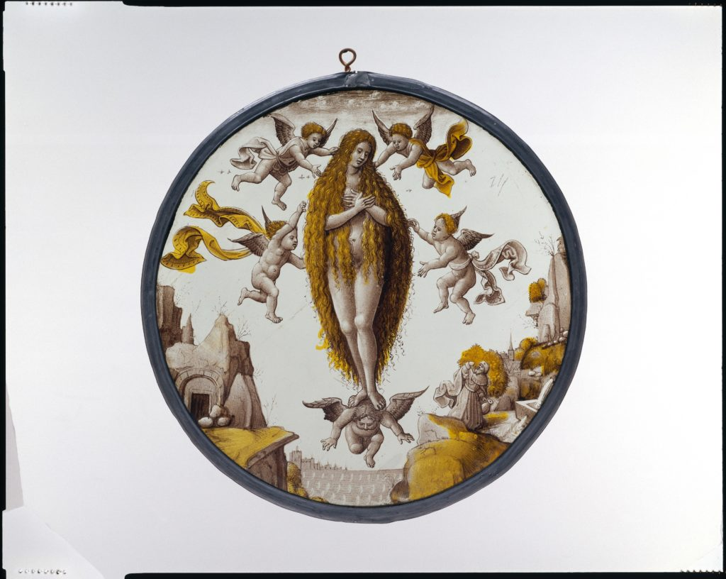 Roundel with Mary of Egypt crossing the Jordan