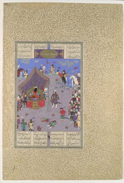 """Rustam Brings the Div King to Kai Kavus for Execution"", Folio 127v from the Shahnama (Book of Kings) of Shah Tahmasp"