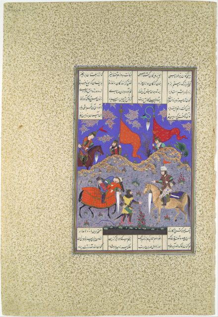 """Rustam Slays Isfandiyar"", Folio 466r from the Shahnama (Book of Kings) of Shah Tahmasp"