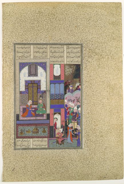 """""""Sam Seals His Pact with Sindukht"""", Folio 85v from the Shahnama (Book of Kings) of Shah Tahmasp"""