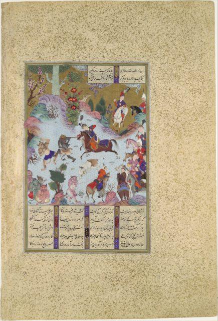 """Tahmuras Defeats the Divs"", Folio 23v from the Shahnama (Book of Kings) of Shah Tahmasp"