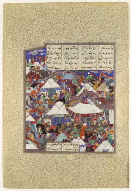 """""""The Besotted Iranian Camp Attacked by Night"""", Folio 241r from the Shahnama (Book of Kings) of Shah Tahmasp"""
