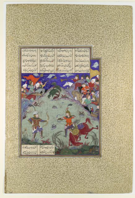 """""""The Combat of Rustam and Ashkabus"""", Folio 268v from the Shahnama (Book of Kings) of Shah Tahmasp"""