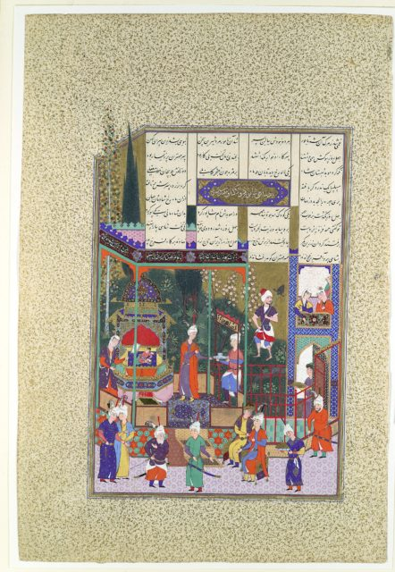 """""""The Coronation of the Infant Shapur II"""", Folio 538r from the Shahnama (Book of Kings) of Shah Tahmasp"""