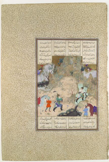 """""""The Final Joust of the Rooks: Gudarz Versus Piran"""", Folio 346r from the Shahnama (Book of Kings) of Shah Tahmasp"""