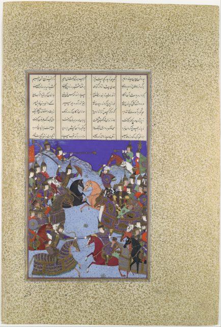 """The Night Battle of Kai Khusrau and Afrasiyab"", Folio367v  from the Shahnama (Book of Kings) of Shah Tahmasp"