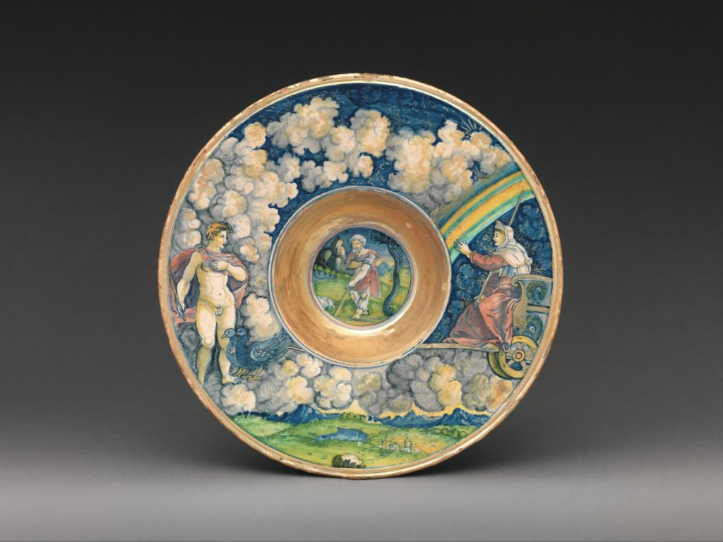 Wide-rimmed bowl with figures from Virgil's Aeneid