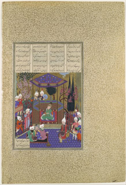 """""""Zal Expounds the Mysteries of the Magi"""", Folio 87v from the Shahnama (Book of Kings) of Shah Tahmasp"""