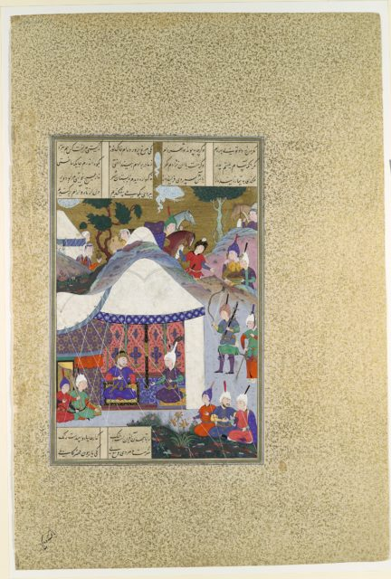 """""""Zal Questions Sam's Intentions Regarding the House of Mihrab"""", Folio 81v from the Shahnama (Book of Kings) of Shah Tahmasp"""