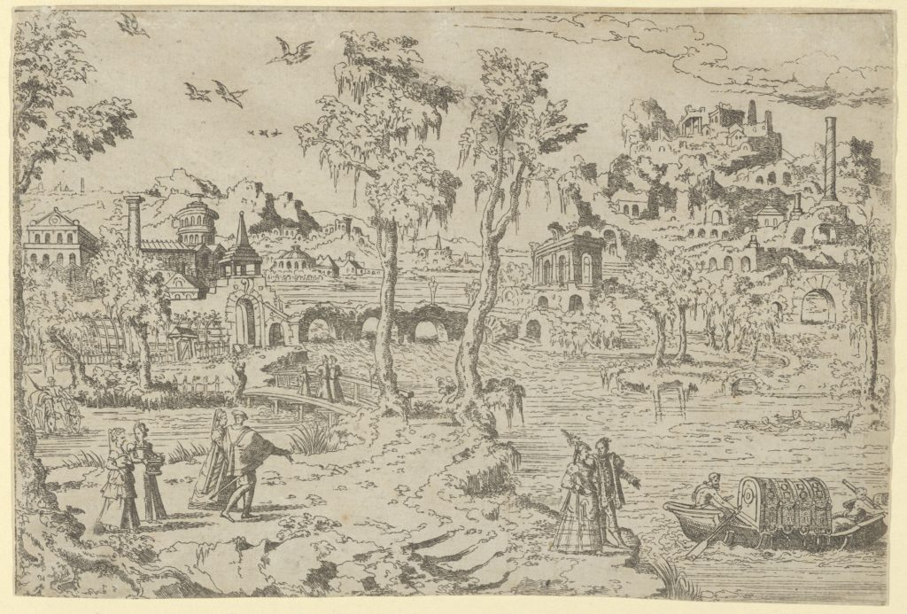 Landscape with ruins, courtiers, and a gondola