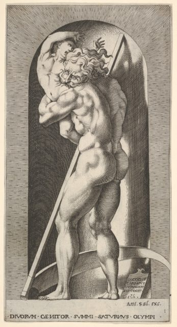 Plate 1: Saturn in a niche devouring his son, standing before a scythe, from a series of mythological gods and goddesses