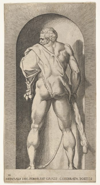 Plate 15: Hercules standing in a niche, wearing a lion skin and holding a club, viewed from behind, with his head turned to the left, from a series of mythological gods and goddesses