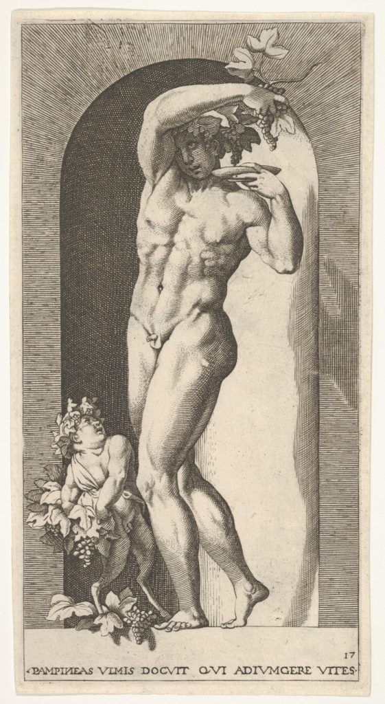 Plate 17: Bacchus standing in a niche, holding grapes over a plate, accompanied by an infant satyr, from a series of mythological gods and goddesses