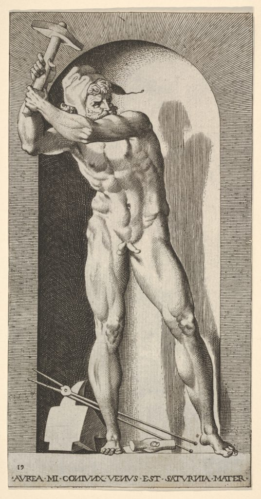 Plate 19: Vulcan standing in a niche swinging a hammer, with an anvil, hammer, and tongs at his feet, from a series of mythological gods and goddesses