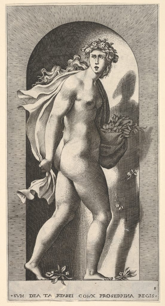 Plate 8: Prosperpina, standing in a niche, turning to the right while holding mantle in both hands and flowers in her right hand, from a series of mythological gods and goddesses