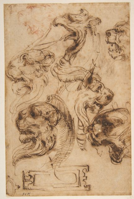 Six Studies of Animal Heads and of a Cartouche