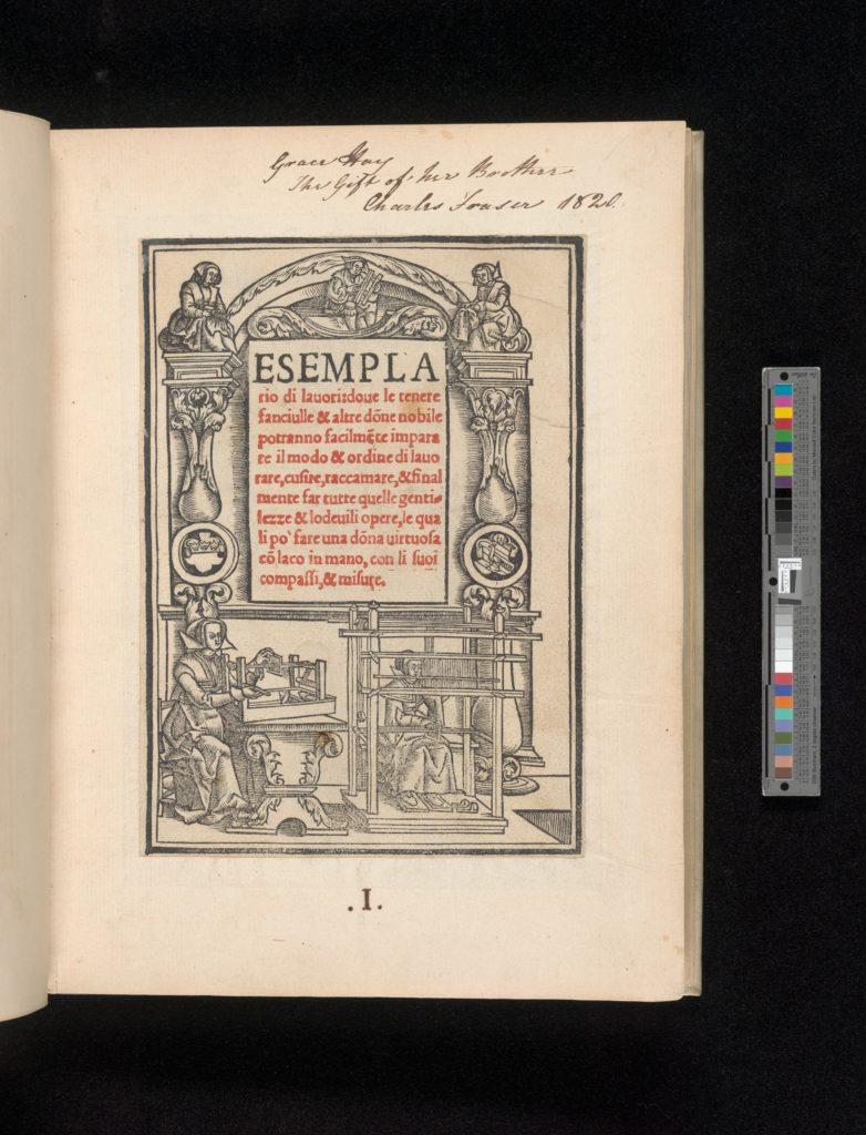 Esemplario di lavori, title page