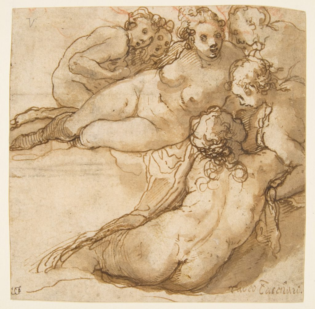 Group of Six Reclining Nude Women (Nymphs Bathing) (recto); Sketch of a Leg (verso)