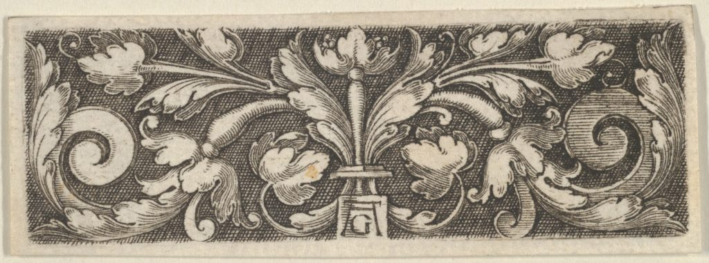 Horizontal Panel with Two Tendrils Sprouting from the Center, Ending in Volutes