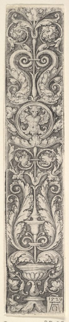 Vertical Panel with a Candelabrum Containing a Medallion with a Centaur and a Pair of Dolphins