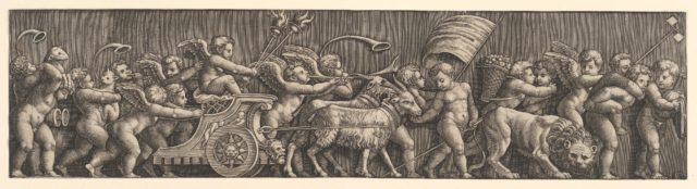 A frieze arrangement depcting the Triumph of Love; Cupid in a Chariot led by goats, many other putt filling the composition