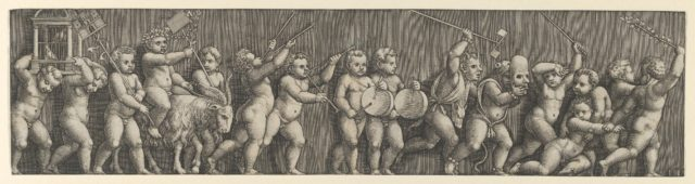 A frieze arrangement with a putto weating a laurel crown riding a goat at left and many infants playing musical instruments in front