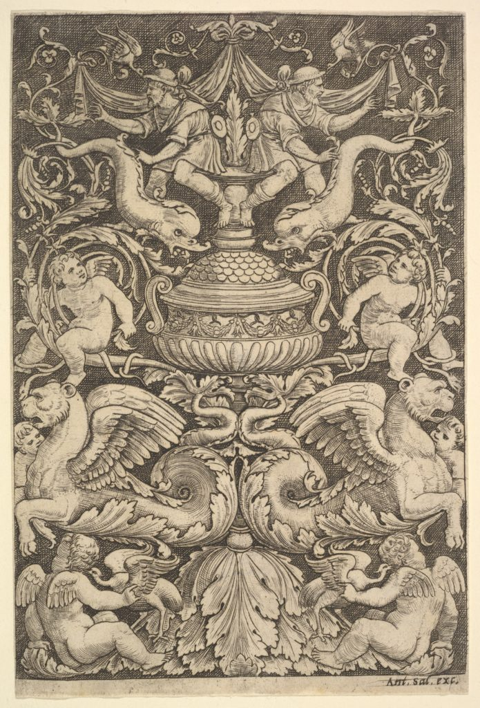 A panel of ornament with a large jar in centre, putti and other figures