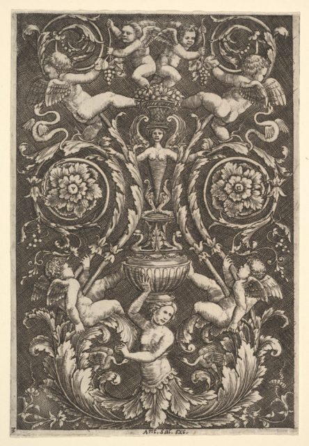 A panel of ornament with putti and other figures