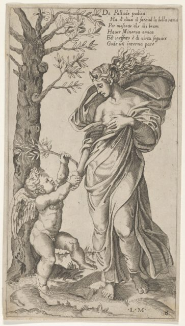 An allegory of Peace; Peace personified as a woman standing in a landscape  holding the left hand of a winged genius