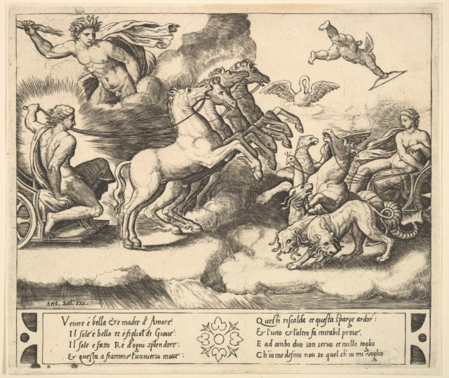 Apollo in his horse-drawn chariot at the left, above him above Jupiter hurls a thunderbolt, Venus at right in her chariot drawn by animals