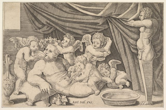 Bacchus surrounded by Putti, a statue of Priapus at right