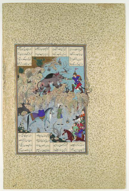 """Bahram Chubina Slays the Lion-Ape"", Folio 715v from the Shahnama (Book of Kings) of Shah Tahmasp"
