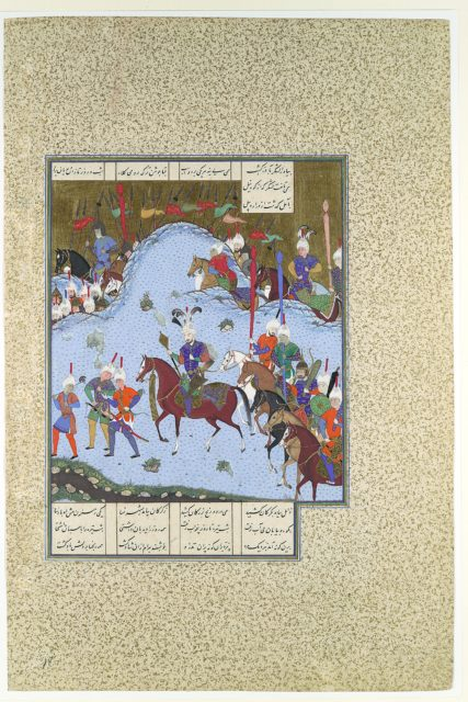 """Bahram Gur Advances by Stealth against the Khaqan,"" Folio 577v  from the Shahnama (Book of Kings) of Shah Tahmasp"