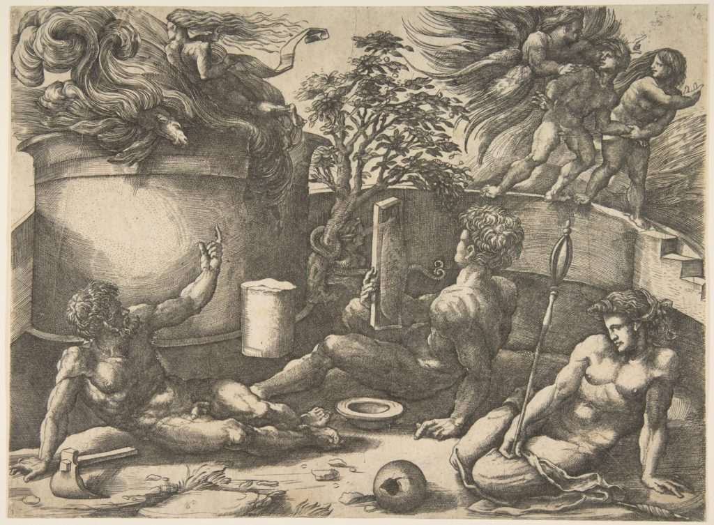 Cain in the center holding a mirror watching his sacrifice seated near Adam and Eve, in the background an angel expelling them from Paradise
