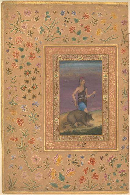 """Dervish Leading a Bear"", Folio from the Shah Jahan Album"